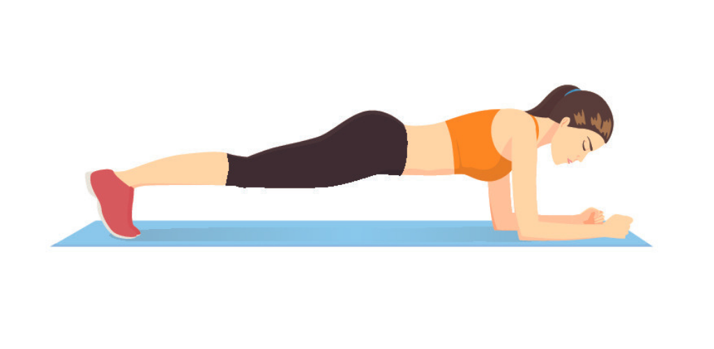 Frau trainiert Zuhause – Planks