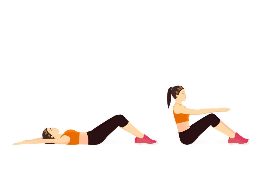 Frau trainiert Zuhause – Sit-ups